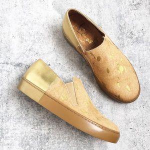Free People Metallic Gold Varsity Sneakers